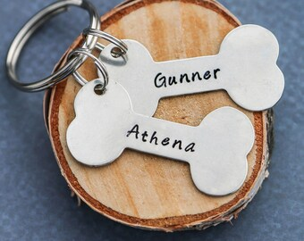 Dog Lover Gift Dog Bone Pet Keychain • Pet Name Keychain • New Puppy Keychain Dog Gift • Personalized Name Dog Keyring • Memorial Dog Loss