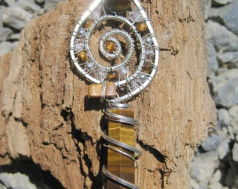 Eye of the Tiger/// Sacred Spiral///Golden Tiger Eye, Double Terminated Pakimer Quartz, and Sterling Silver Wire Wrap Pendant, One of a Kind