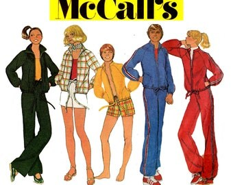McCall's 5685 UNISEX Mens Womens Teens Tracksuit Jogging Suit & Shorts 70s Vintage Sewing Pattern Size XS Chest / Bust 30.5 - 31.5 inches