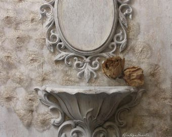 French Chic Mirror w Sconce. Ornate Pocket Vase. Rococo Framed Mirror. Shabby Chic White Wall Decor Collection. Vintage Cottage Romance