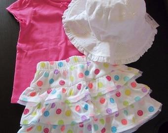 Baby Girls Clothing Hat/Shirt/Tutu Happy Face Skirt Princess Set