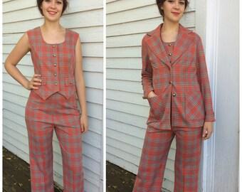 Orange Plaid Suit Retro 70s 3 Piece Polyester Vintage S Graff California Wear
