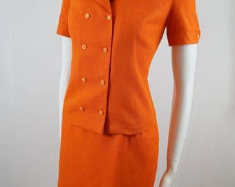 Vintage 60s John J Hilton Orange Cotton Two Piece High Waisted Skirt and Top Dress Suit