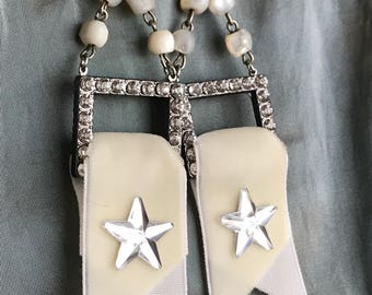 star spangled banners - earrings rhinestone velvet ribbon mother of pearl rosary cream white summer patriotic jewelry, the french circus