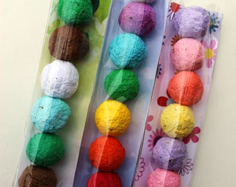 MADE TO ORDER- Wildflower Seed Bomb Favor in clear cello sleeve- 3 color combinations to choose from