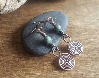 African Turquoise Earrings. Copper Spiral Dangle Earrings. Tribal Stone Jewelry. Spiral Earrings.  Niobium Hypo Allergenic French Hooks.
