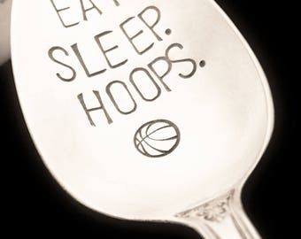 Basketball Gift: EAT SLEEP HOOPS Stamped Spoon, Game Day Party, Birthday, Gift for Him Dad Boyfriend Coach, Sports Lover Fan, Basketball Mom
