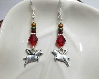 When Pigs Fly Earrings, Red Flying Pigs Sterling Silver Dangle Earrings, Silver Pig Charm Sterling Silver Earrings, Flying Pig Earrings