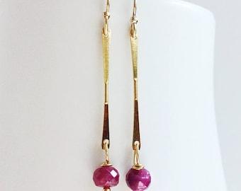 Ruby Drop Earrings, Ruby Earrings, July Birthstone, Gemstone Jewelry