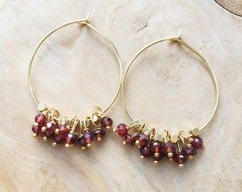 Garnet Earrings, January Birthstone, Garnet Hoop Earrings, Red Earrings