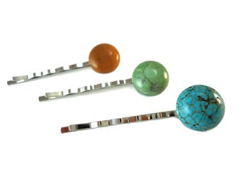 Colorful Bobby Pins Set of Three, Round Stone Accessories for Hairstyles Gift, Brown Blue and Green Hair Pin Set, Hair Accessory Gift Set