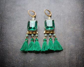Emerald Tassel Earrings Big Gem Assemblage Boho Festival Mint Crystal Green Bohemian Gypset Long Statement Chandelier Camel Swag Fringe