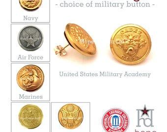 Military Button Post Earrings   Army Navy Air Force Marines Coast Guard USMA USAFA USNA usmc    Mom Wife Girlfriend   Gift   Hope Design