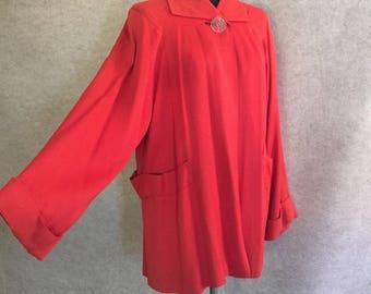 Vintage 40's Jacket, 1940's Swing Coat, Bright Persimmon Orange Short Coat, Women's Size Medium