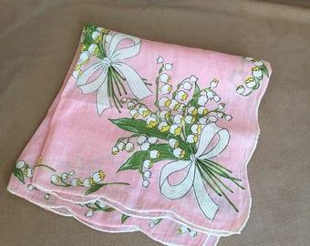 Vintage Handkerchief, Vintage 60s' Hankie, Cotton Handkerchief, Floral, PRETTY Colorful Floral, Green, Pink, Retro 50's Style