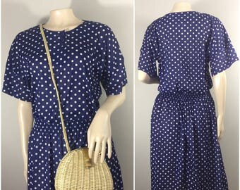 Navy Blue Dress with White Polkadots by Darian // Blue and White Dress // 1980s Polkadot Dress
