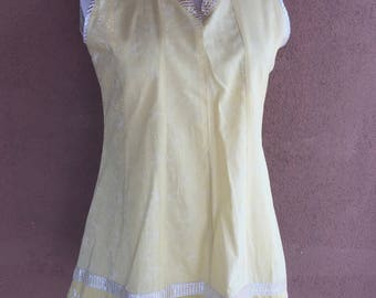 1960's Cotton Mini Dress or Tunic - Pale Yellow with Silver Trimmings