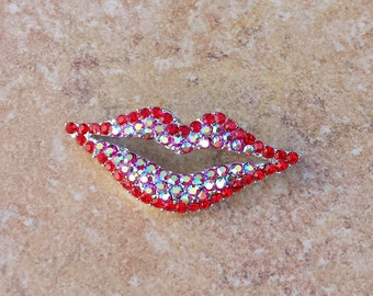 Red Aurora Borealis Gemstones Open Lips Brooch Pin