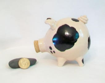 Piggy Bank - Pink with Lovely Black Spots - Handmade on the Potters Wheel - Charming Gift