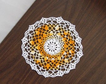 Yellow Spring Decor Crochet Lace Doily, Table Decoration, 9 Inch Doily, Golden Yellow and White, Cottage Chic Home Decor