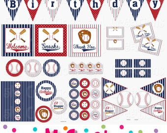 Baseball Birthday Party Printable Package - Baseball Party Decorations - Banner Cupcake Toppers Favor Tag Sign- navy red Instant Download