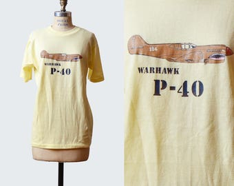 Vintage 1980s P-40 Warhawk Airplane TShirt / 1980s Hipster T Shirt WWII Fighter Plane Graphic Tee Retro Tee Shirt s m
