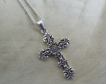 ON SALE Cross necklace handmade in sterling silver 925