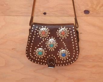 Stunning \Vintage 70's Ethnic Moroccan BOHO Hippie Brown Leather Metal Embellished Shoulder Purse Bag