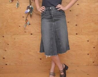 Vintage 90's A-line Black Jean Denim A-line Skirt, Hipster Rocker Look, Size M