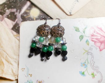 Rustic Assemblage Earrings - Pretty Chandeliers - Laguna ab Glass - Metal Connectors - Jade Green Plastic - Tarnished Metal Bead Caps