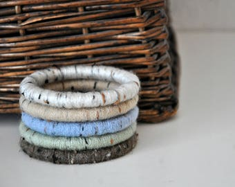 Set of 5 Fiber Wrapped Yarn Bangle Bracelets Rustic Jewelry Women's Accessory Flecks