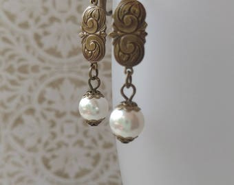 Edwardian Pearl Earrings - Titanic Jewelry - Dainty Earrings - Downton Abbey Style Jewelry - Victorian Jewelry  - Womens Jewelry
