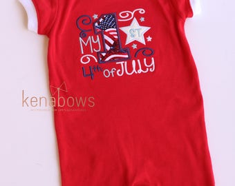 My 1st 4th of July Romper, READY-TO-SHIP 12m, Baby Boy, Baby Girl, First Fourth Outfit, Red, White, Blue, Patriotic, American Flag,