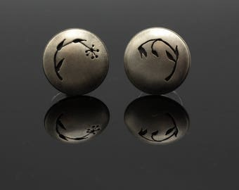 Ready to ship ear posts. Sterling silver handmade half inch circle button earrings with plant floral silhouette design.