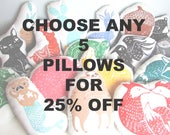 SALE. 25% OFF. Choose ANY 5 Woodblock Pillows in any Colors. Hand Block Printed.  Made to order.