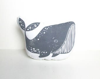 Whale Shaped Animal Pillow. Choose ANY Color. Hand Woodblock Printed to Order. Takes 1 week to make.