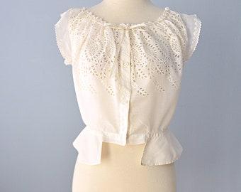 Edwardian Camisole...Vintage Edwardian Cotton Camisole Corset Cover Up Medium