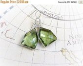 MOVING SALE On Sale Ocean Water, Genuine Brazilian Natural Green Amethysts  Faceted with  Sterling Silver Framed Gemstone Earrings by Hollyw
