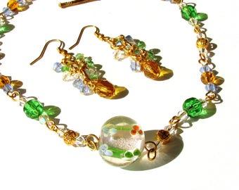 Glass and crystal, jewelry set, beaded choker, cluster earrings