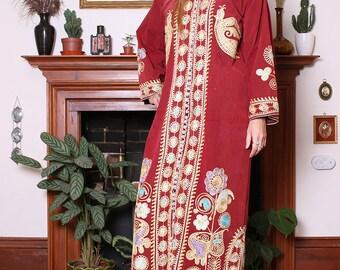 Vintage 60s Rust Velvet Embroidered Moroccan Kaftan M-L