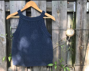 Hand Knit Cool Cotton Crop in Blue