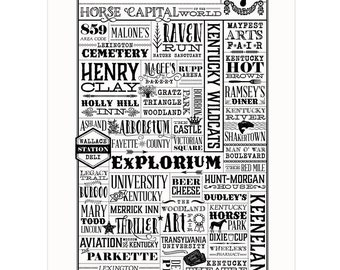 Lexington, Kentucky Letterpress Wall Art Print Poster