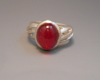 Ruby Recycled Created Ruby Red Cabachon Gemstone Sterling Silver Ring July Birthstone