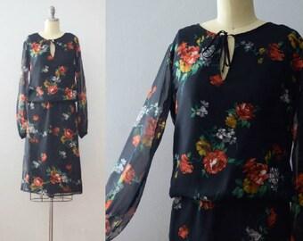 Vintage 1980's Black Floral Chiffon Dress Set