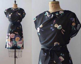 Vintage 1970's Black Floral Sheer Dress