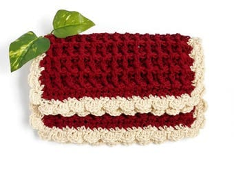 Crochet Dishcloth Red Burgundy Cotton Off White Cream Color Soft Durable Handmade Deluxe Kitchen Cloth Set of 2