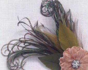 flapper brown velvet flower hair clip with antique rhinestones and vintage green feathers fascinator swing dance 1940's - ready to ship