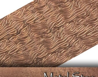 "Textured Copper 24 gauge Sheet Metal 2.5"" x 12"" -Van Gogh Pattern Solid Copper Sheet Metal 80"