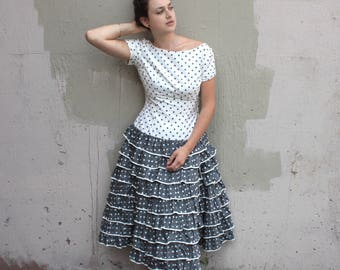 Vintage 1950's Dress // 50s Cotton Grey and White Polka Dot Party Dress with Tiered Frilled Skirt // Pin Up Rumba Dress
