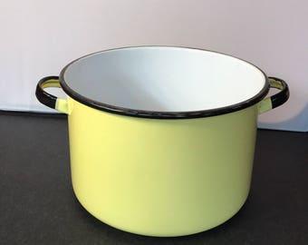 Vintage Enamel Cookware Stockpot Yellow Enamelware Pot no lid